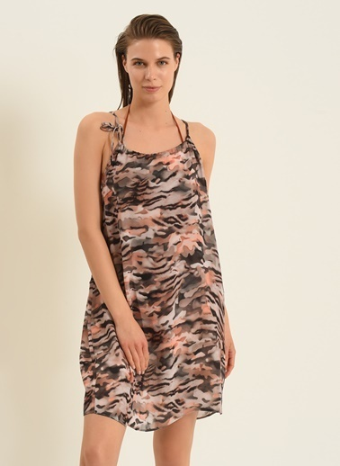 Morhipo Beach Morhipo Beach Desenli Mini Çok Renkli Kadın Elbise Renkli